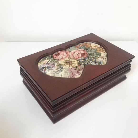 1980s Wood Jewelry Box with Floral Tapestry Hearts